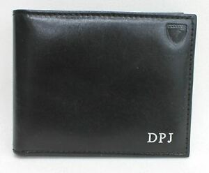 ASPINAL-OF-LONDON-Men-039-s-Black-Billfold-Smooth-Leather-Wallet-Embossed-DPJ-NEW