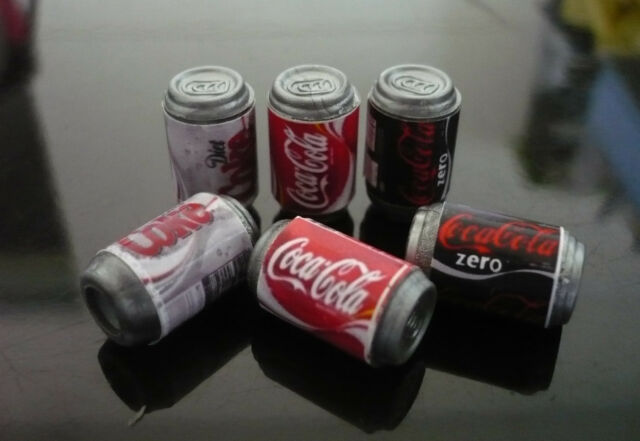 6 Mix Coca Cola Cans Dollhouse Miniatures Food Beverage Drink Soft New