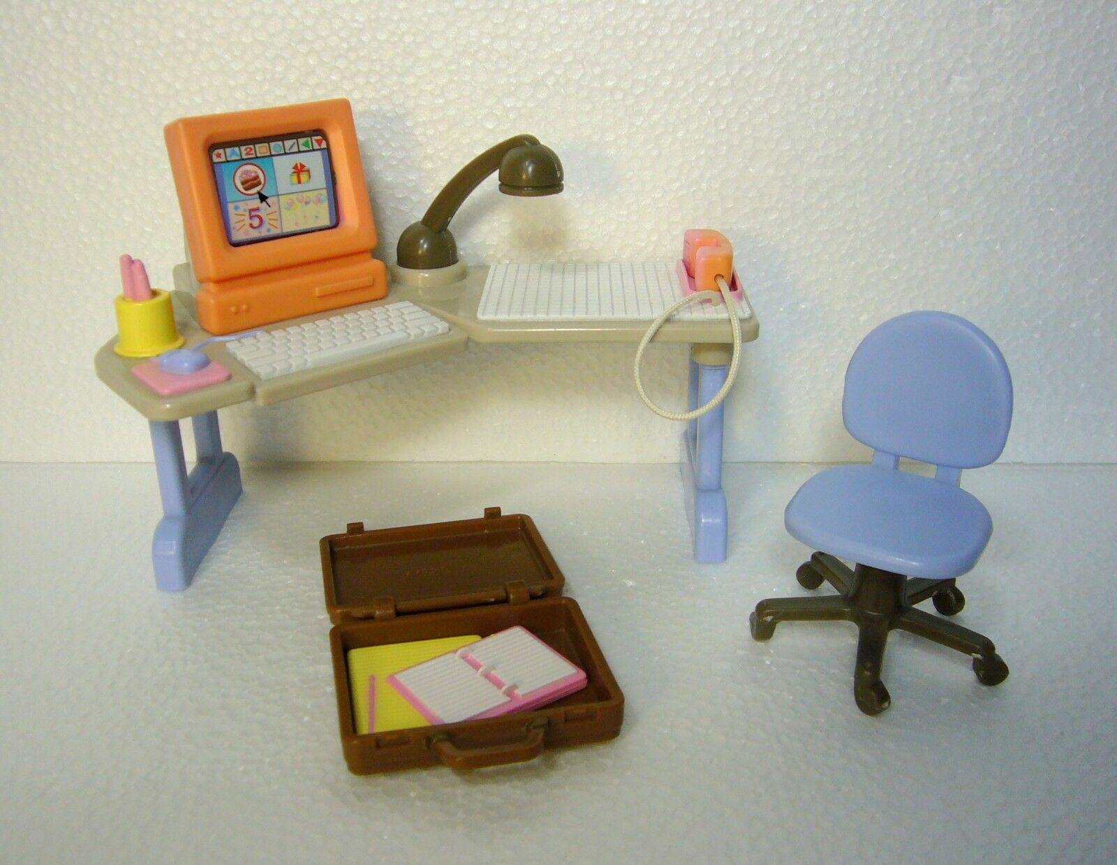3-pc Rare Fisher-Price Loving Loving Loving Family Office Computer Desk Chair & Briefcase 6b001e