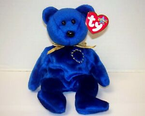 """TY Beanie Babies 8"""" UNITY the Union Bear Mismatched Dates W/Case & Tag Cover"""