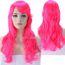 Pastel Pink Purple Red Dark Ombre Long Cosplay Hair Wig Women Long Straight Wavy