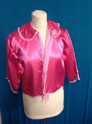 A Ladies Vintage Satin Pink Laced Edge Bed Jacket UK Size 12-14