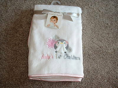 Blankets & and Beyond Baby's 1st Christmas Blanket Girls White NWT NEW Infant