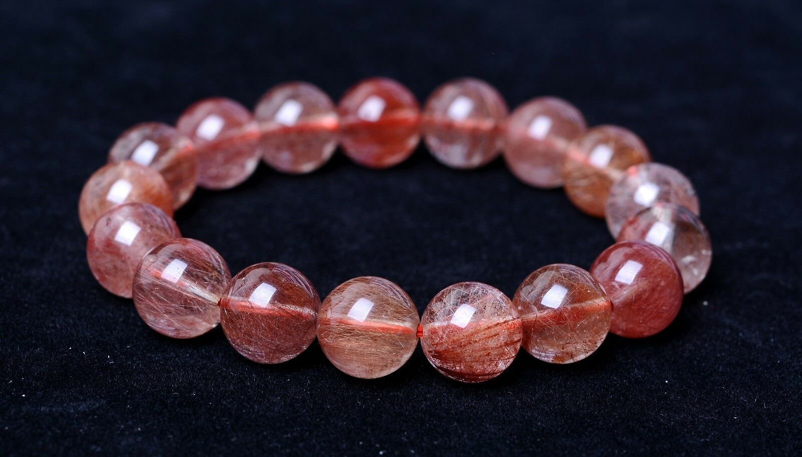 Natural gold Red Hair Rutilated Quartz Crystal Beads Healing Bracelet 13mm