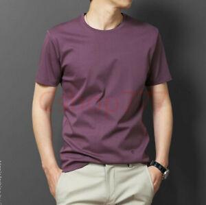 Mens Korean Basic T Shirt Silk Oversize Soild Summer Fashion