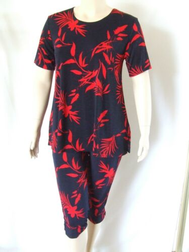 short sleeve Tunic A-Line,NEW Travel Knit Capri Set stretchy no-iron poly #102