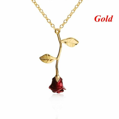 Beauty Delicate Rose Flower Pendant Necklace Rose Gold Silver Charm Jewelry UK