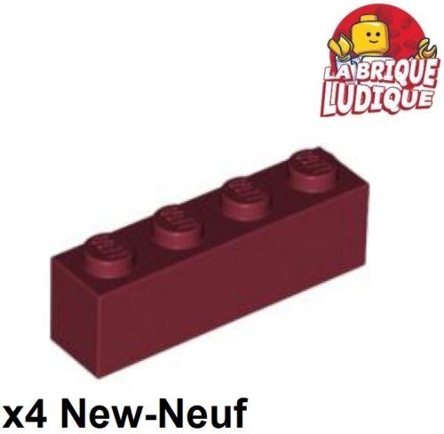 Lego 4x Lego Brick 1x4 4x1 Rot Dunkel- Dark Rot 3010 Neu