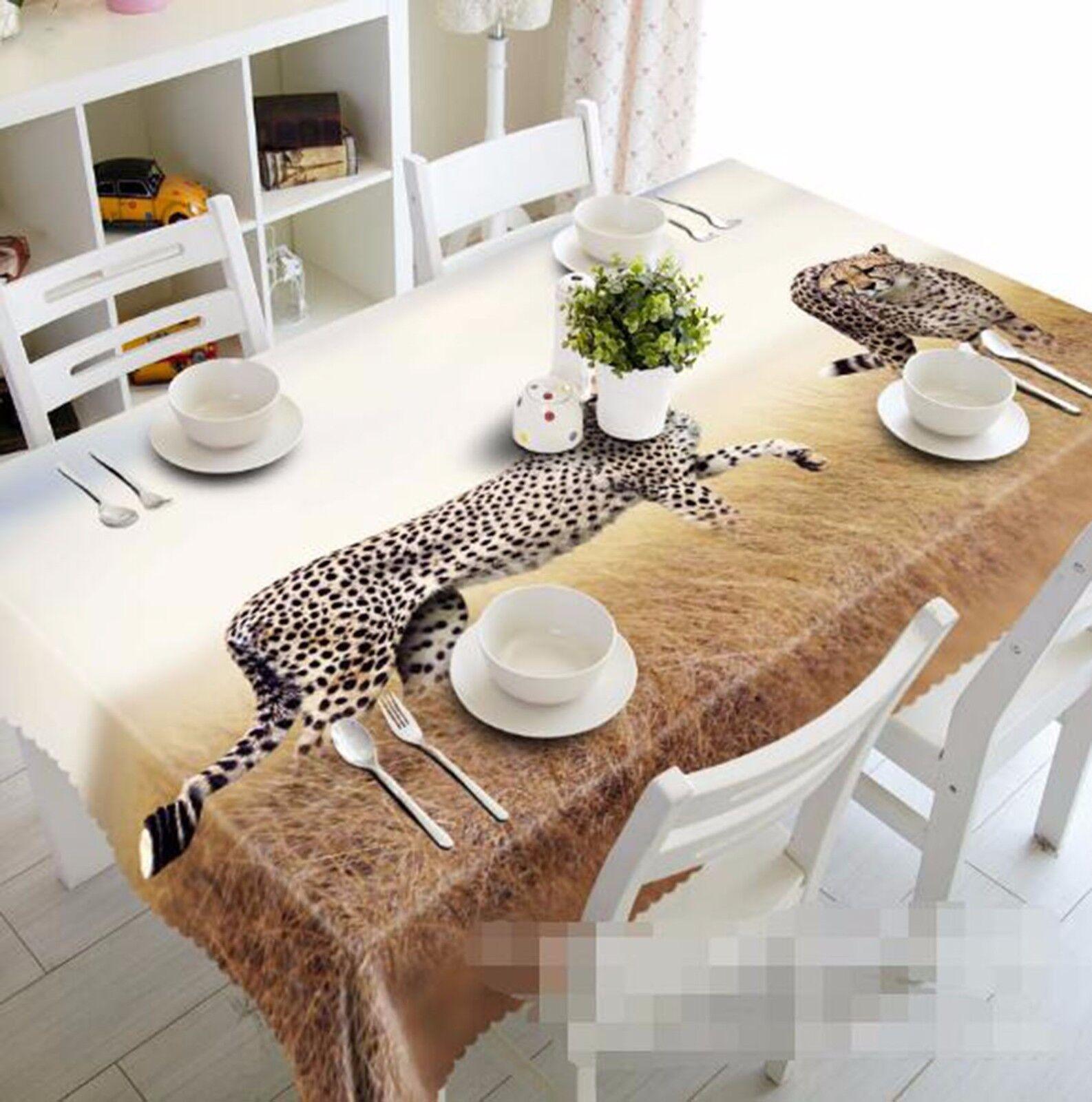 3D Leopard Leopard Leopard 6 Tablecloth Table Cover Cloth Birthday Party AJ WALLPAPER UK Lemon 191b52