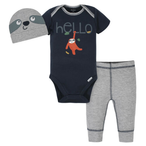 and Cap Set Gerber Baby 3-Piece Boys Sloth Onesies Bodysuit Pant