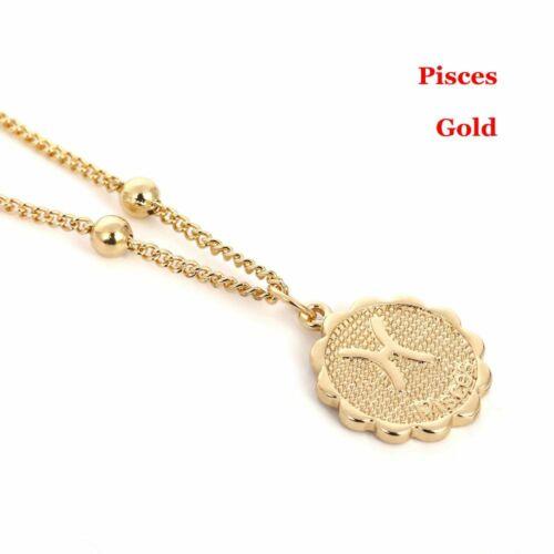 Carve Coin Halskette des Anhängers 12 Konstellation Kette der Schlüsselbeine