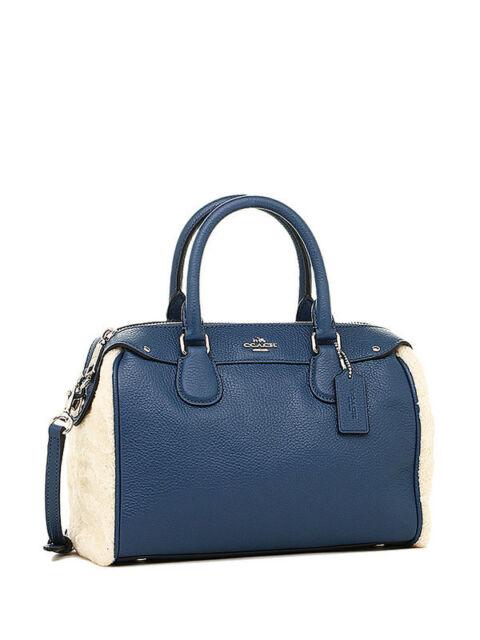 Nwt Coach Shearling Mini Bennett Satchel Handbag In Slate Natural F 36689