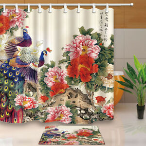 Image Is Loading Peacock And Peony Flowers Bathroom Decor Fabric Shower