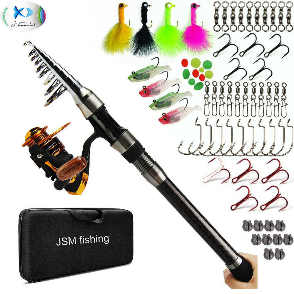 Telescopic Spinning Fishing Pole Rod and Reel Combo Set FULL KIT with Lures Jigs