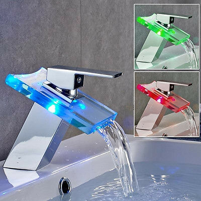 Chrome LED RGB Glass Mixer Tap Waterfall Bathroom Sink Basin Single Lever Faucet