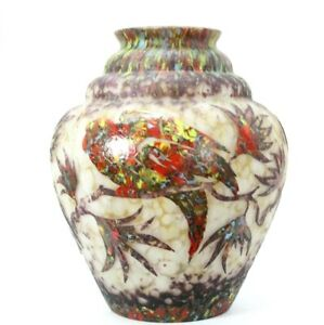 Massive Czechoslovakia Cameo Glass Vase Parrot Design Sign Hero by Stefan Hrdina
