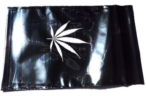 500 Stück Zip Beutel schwarz mit silbernem Hanfblatt 60x80mm Schnellverschluß