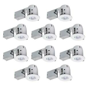 """4-Pack GLOBE ELECTRIC 6/"""" White New Construction/& Remodel LED Recessed Lighting"""