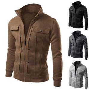 Men's Slim Fit Stand Collar Coat Tops Military Jacket Winter Outwear Blazer 2018