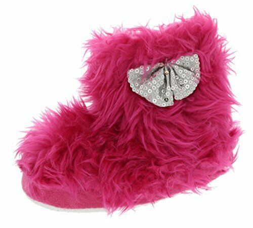 grand 9//10, Rose chaud Chatties Toddler Girls Rock Star Fourrure Chaussons Bottes