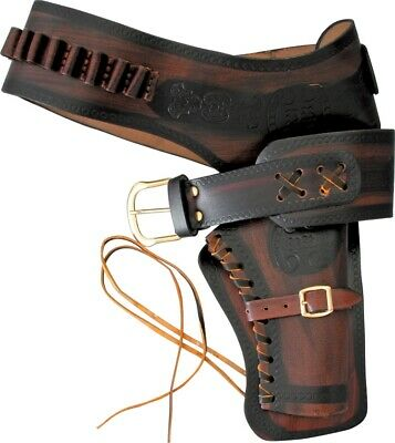 Denix Single Right Draw Holster Brown Tooled Spanish Leather Shell Loops Leg-Tie