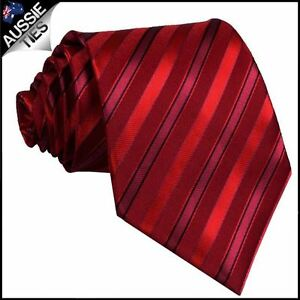 Scarlet with Cherry Red and Black Stripes Tie Men/'s