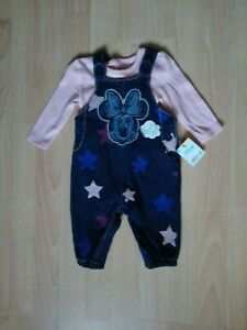 Baby Girls 2 piece White T Shirt and Blue with Disney Minnie Mouse dungarees