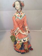 Porcelain Figurine of Qing Dynasty Shiwan Chinese Pretty Lady New in Box