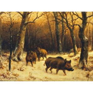 Bonheur-Wild-Boars-Winter-Snow-Painting-Canvas-Art-Print-Poster