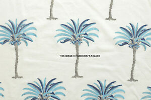 Palm-Tree-Indian-Hand-Block-Floral-Running-Print-100-Cotton-Fabric-10-Yard-Art