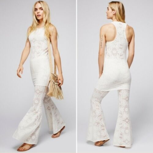 Free People Beach Flower Power White Lace Flare Pants New