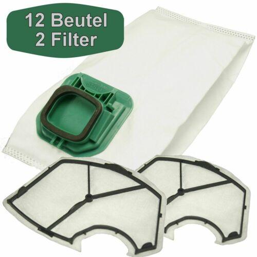 12 Staubsaugerbeutel Staubbeutel 2 Filter Ersatz für Vorwerk Kobold 140 und 150