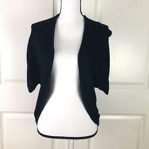 Ann-Taylor-Womens-Cardigan-Navy-Blue-Size-Medium-Open-Front-Short-Sleeve-Sweater
