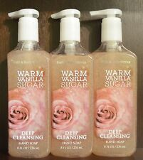 3 BATH & BODY WORKS WARM VANILLA SUGAR DEEP CLEANSING HAND SOAP LOT NEW 8 OZ