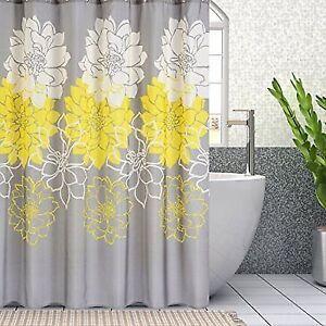 Wimaha Peony Flower Fabric Shower Curtain Mildew Resistant
