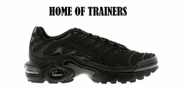 NIKE AIR MAX PLUS TNS(GS) TRAINERS TRIPLE BLACK ALL SIZES 3 4 5 6 7