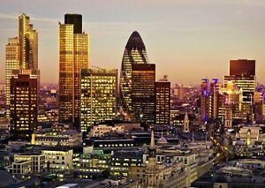 London UK City Night Skyline Cityscape  Giant Poster A4 A3 A2 A1 Sizes