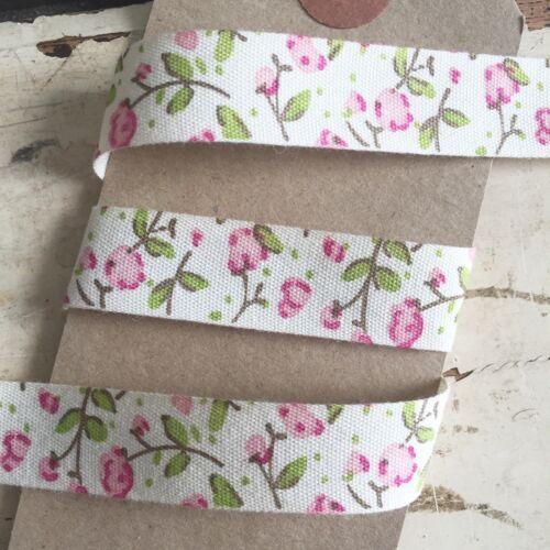 18 mm Pretty Ivoire Rose Floral Coton Ruban 5 m Complet Rouleau Vintage Wedding Craft