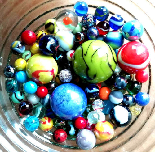 MARBLES MIXED  in 8 sizes UNIQUE set of 70