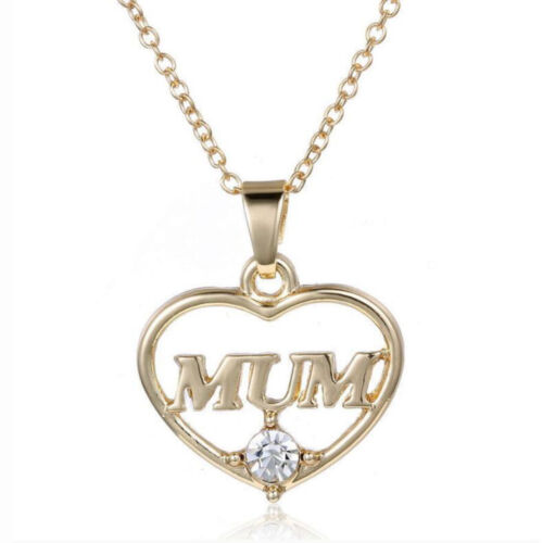 Gold Heart with Mum personalized gift for Mother`s day Pendant Necklace N554