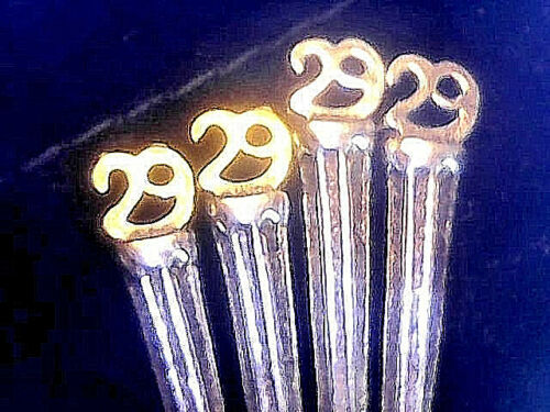 """Velvet Bag X 2-Silver+2-Gold 4 Cribbage Pegs /""""29/"""" /'Perfect Hand/"""" Silver Alloy"""
