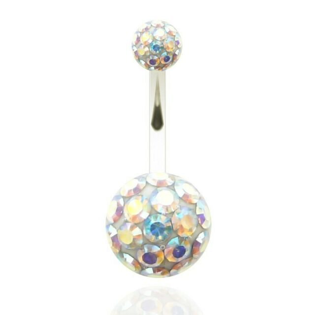 Piercing navel 7 Colors belly ball multi-crystal with resin /& top ball