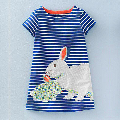 Baby Kids Girls Summer Short Sleeve Shift Dress Striped Clothes Cartoon Skirts