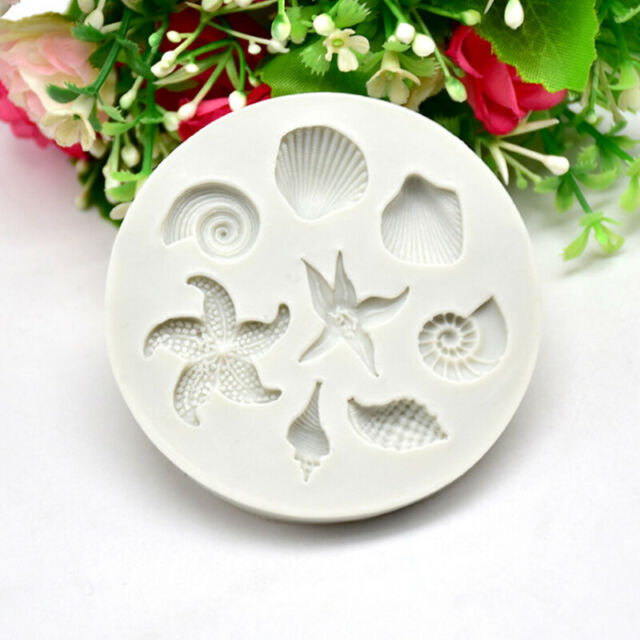 Cake Decorating DIY Sea Creatures Conch Starfish Shell Fondant Silicone Mold'KN