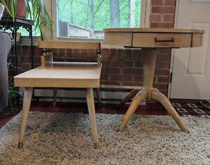 2-Vintage-Blonde-Mersman-Mid-Century-Modern-MCM-End-Table-Circle-With-Drawer