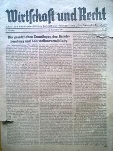 WIRTSCHAFT UND RECHT - 15. Dezember 1942 - Frohburg, Deutschland - WIRTSCHAFT UND RECHT - 15. Dezember 1942 - Frohburg, Deutschland