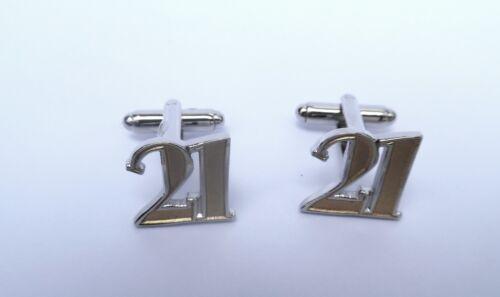"""21st Cumpleaños Regalo-ORO/"""" /""""estilo frontal de metal fundido Gemelos en una caja de regalo-Nuevo"""