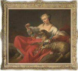 "Hand-painted Old Master-Art Antique Oil Painting girl sheep on canvas 30""X40"""