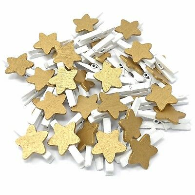 Bello Mini 30mm Bianco Abiti Esegue Il Pegging Con 15mm Gold Star Craft Shabbychic Embelishment-