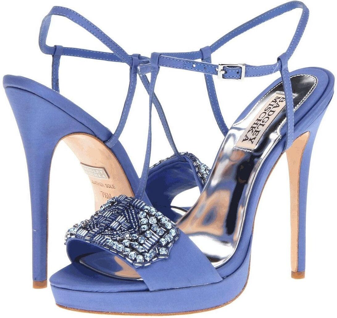 BADGLEY MISCHKA Amara Platform Pumps Evening Sandals NEW Womens 9 bluee 4  Heels